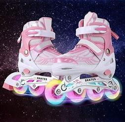 Inline Skates with Light Up Wheels Adjustable Roller Skates