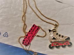 betsey johnson inline skate necklace