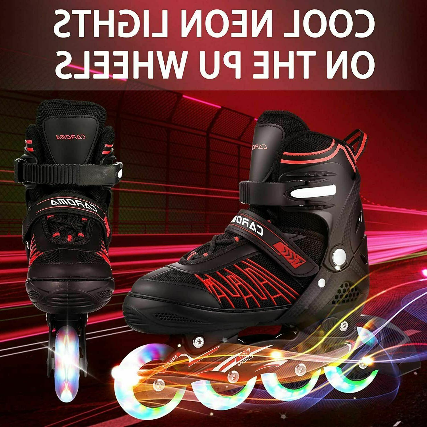 Inline Skates with Lights Up Wheels Outdoor 3 Roller